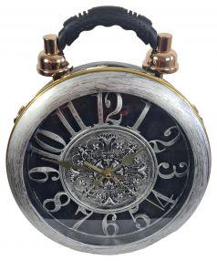 Designer Handtasche mit echter Uhr Silbergrau