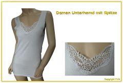 Damen Unterhemd mit echter Spitze - 2 Stück - bis Größe 58 lieferbar