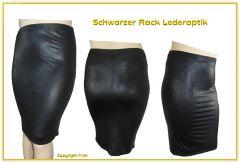 Schwarzer Rock Lederoptik XXL Knielang