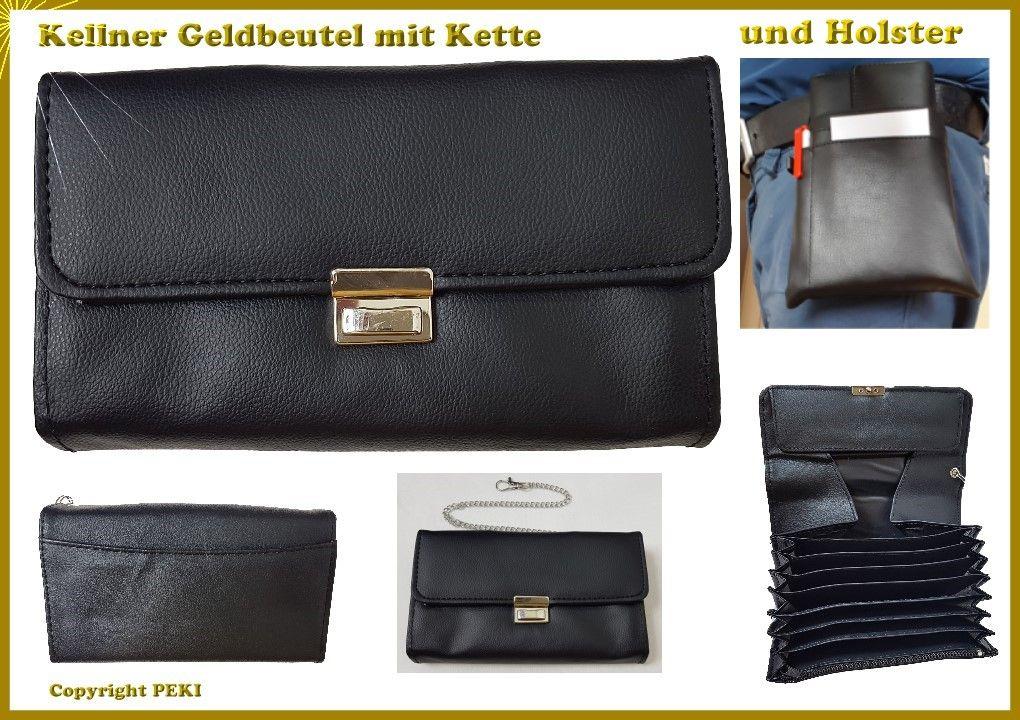 Portemonnaie Taxigeldbeutel Börse AB Kellner Geldbeutel mit Kette und Holster