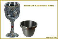 Mittelalter Weinkelch Kämpfender Ritter