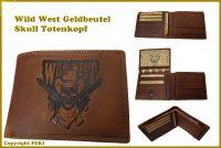 Echt Leder Western Geldbeutel Skull Totenkopf