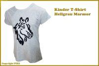 Kinder T-Shirt Pferd Grau - aus echten Pailletten