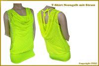 Netz Tshirt Neongelb mit Strass