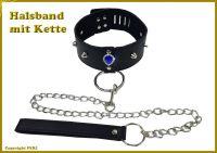 Echt Leder Halsband mit Kette