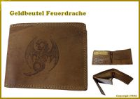 Echt Leder Geldbeutel Feuerdrache Quer - original Büffel-Leder