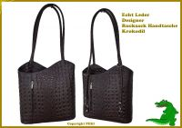 Echt Leder Designer Handtasche Krokodil Kaffeebraun