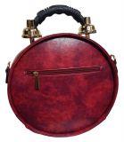 Designer Handtasche mit echter Uhr Weinrot