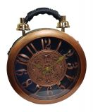 Designer Handtasche mit echter Uhr Schwarz-Kupfer