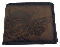 Echt Büffel-Leder Geldbeutel Skull Totenkopf mit Helm