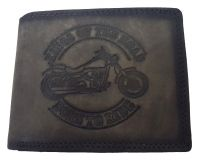 Echt Büffel-Leder Geldbeutel Harley Kings of the Road Grau