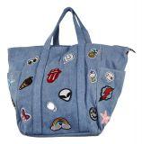 Designer Handtasche Jeans Sticker Hellblau