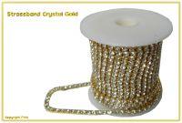 Strassband Crystal Gold mit Crystalsteinen SS12 3mm 1 Meter