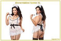 Sexy Dienstmädchen Maid Straps Kostüm XL - 4-teilig