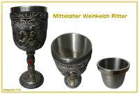 Mittelalter Weinkelch Ritter auf Pferd