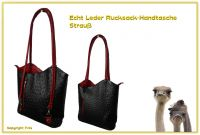 Echt Leder Designer Handtasche Black and Red Strauß