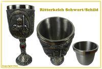 Mittelalter Weinkelch Ritter mit Schwert und Schild
