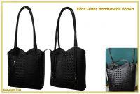 Echt Leder Designer Handtasche Krokodil Schwarz