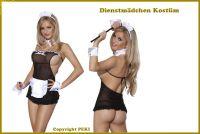 Süßes Zimmermädchen Maid Kostüm - 5-teilig - Schwarz-Weiß
