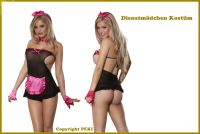 Süßes Zimmermädchen Maid Kostüm - 5-teilig - Schwarz-Rosa