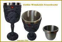 Gothic Steampunk Weinkelch Feuerdrache - Mittelalter